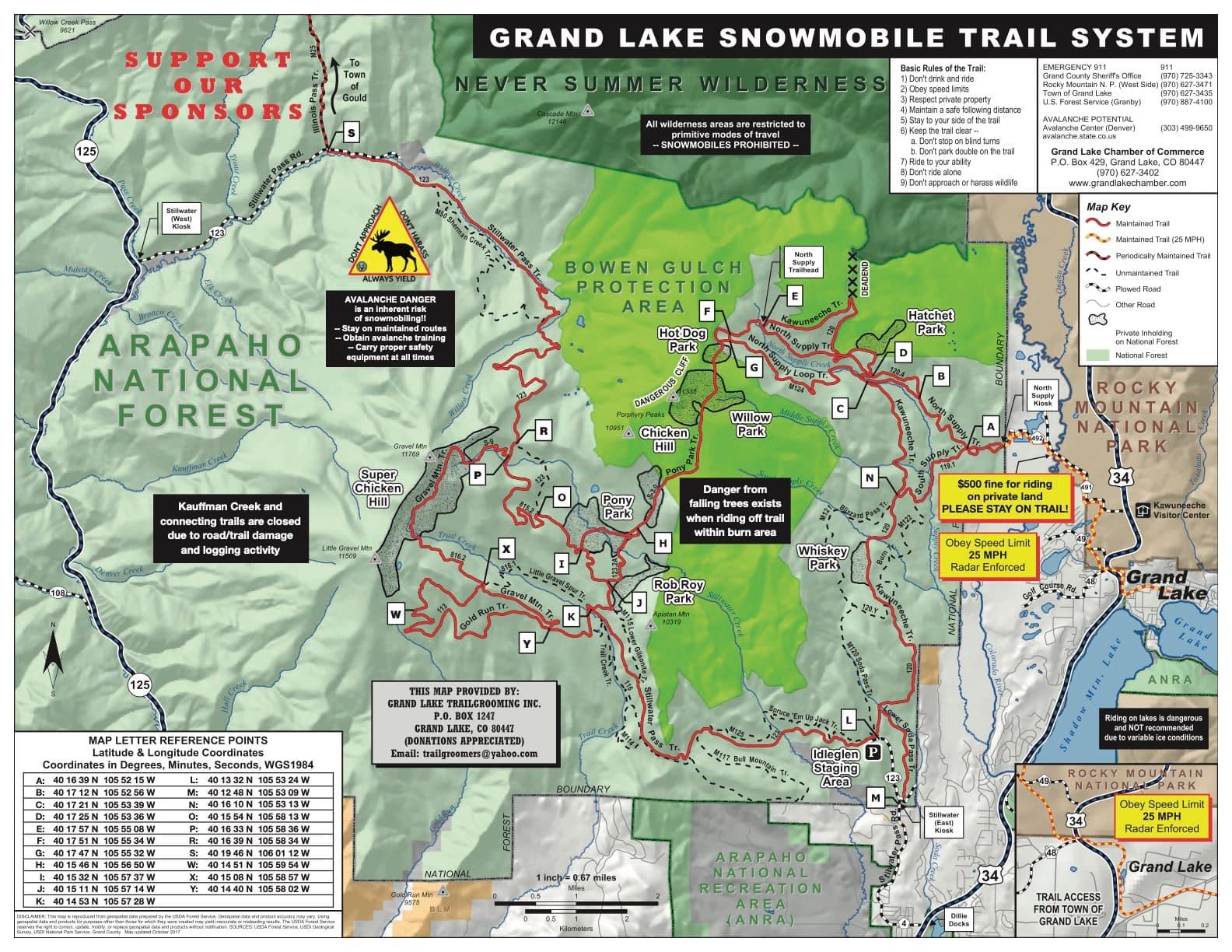 Trail Maps Grand Lake Trailgroomers